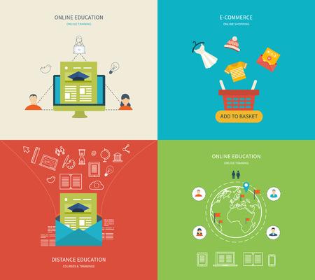 capacitaci�n: Piso de dise�o modernos ilustraci�n vectorial Conjunto de iconos de la educaci�n en l�nea, e-learning y la formaci�n en l�nea, comercio electr�nico y compras en l�nea. S�mbolos de la tienda en l�nea, pago, servicio al cliente y la entrega
