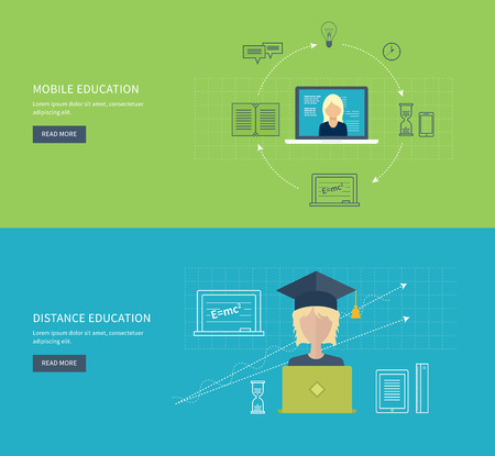 proposes: Flat design modern vector illustration icons set of online education and e-learning. Online course from universities and colleges proposes video-on-demand, forum, communication. Illustration