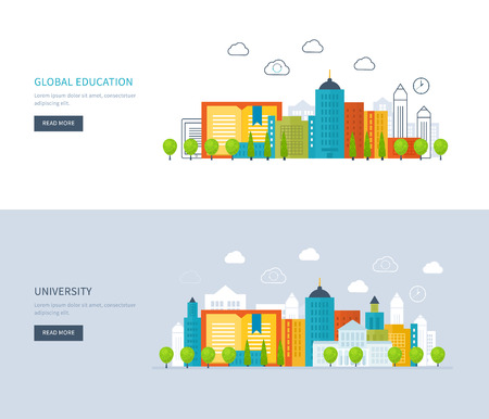 Flat design modern vector illustration icons set of global education, online training courses, staff training, university, tutorials. School and university building icon. Urban landscape. Vettoriali