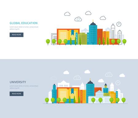 Piso de diseño modernos ilustración vectorial Conjunto de iconos de la educación global, los cursos de capacitación en línea, capacitación del personal, la universidad, tutoriales. Escuela y edificio de la universidad icono. Paisaje urbano. Vectores