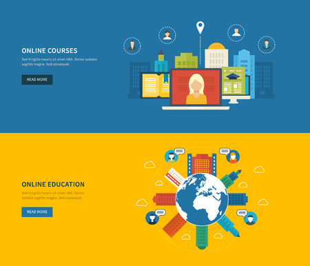 online education: Flat design modern vector illustration icons set of online education and online training courses, specialization, university, tutorials. School and university building icon. Urban landscape.