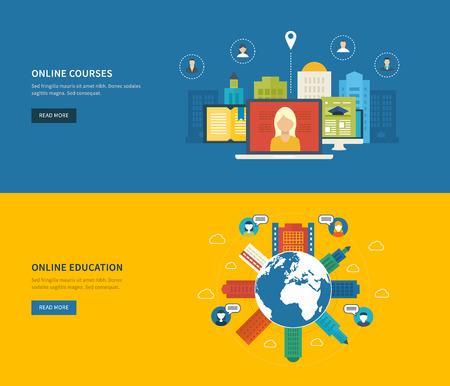 corsi di formazione: Flat Design moderno illustrazione vettoriale Set di icone di formazione online e corsi di formazione online, la specializzazione, universit�, esercitazioni. Scuola ed edificio universitario icona. Paesaggio urbano.