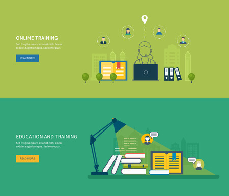 training courses: Flat design modern vector illustration icons set of online education, online training courses, web library, tutorials.  School and university building icon. Urban landscape. Illustration