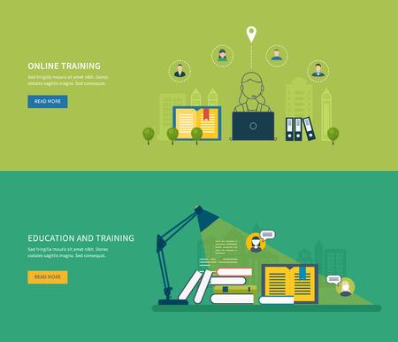 corsi di formazione: Flat Design moderno illustrazione vettoriale Set di icone di istruzione on-line, corsi di formazione online, biblioteca web, esercitazioni. Scuola e universit� icona costruzione. Paesaggio urbano.