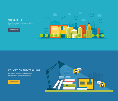 training course: Flat design modern vector illustration icons set of global education, online training courses, staff training, specialization, university, tutorials. School and university building icon.