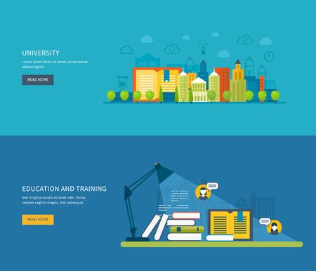 convivencia escolar: Piso de diseño modernos ilustración vectorial Conjunto de iconos de la educación global, los cursos de capacitación en línea, capacitación del personal, la especialización, la universidad, tutoriales. Escuela y edificio de la universidad icono.