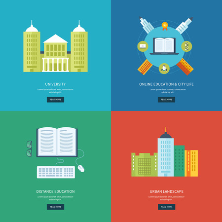 urban building: Flat design modern vector illustration icons set of online education, e-learning, university, urban landscape and city life. School and university building icon. Vector illustration