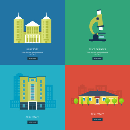 trees services: Flat design modern vector illustration icons set of online education, e-learning, university, urban landscape and city life. School and university building icon. Vector illustration