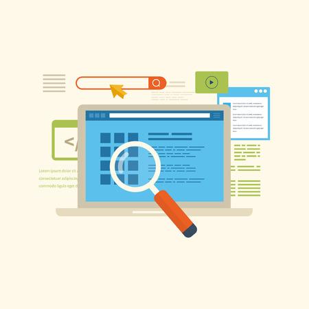 フラットなデザインのベクトル図概念検索エンジン最適化と web 分析要素のセットです。携帯アプリ。