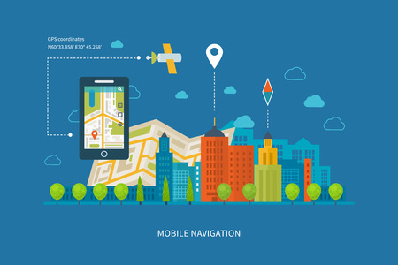 Vector illustration concept of  holding smart-phone with mobile navigation. Flat design modern vector illustration icons set of urban landscape and city life. Building icon.
