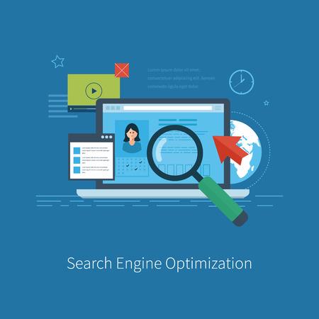 Set van platte ontwerp vector illustratie concepten voor zoekmachine optimalisatie en web analytics-elementen. Mobiele app.