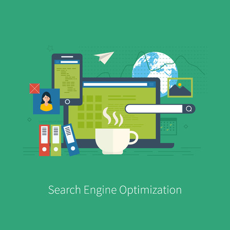 mobile website: Set of flat design vector illustration concepts for search engine optimization and web analytics elements. Mobile app.