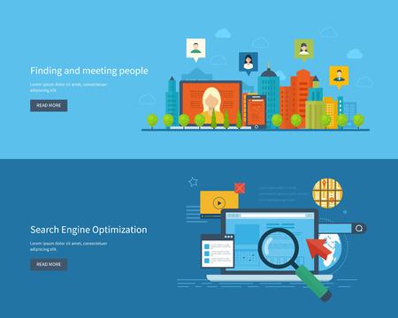 Set van platte ontwerp vector illustratie concepten voor het vinden en de mensen, zoekmachine optimalisatie en web analytics elementen ontmoeten. Ontmoet nieuwe mensen en nieuwe vrienden. Mobiele app.