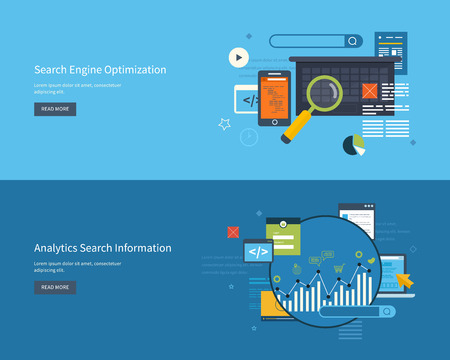 Set of flat design vector illustration concepts for search engine optimization and web analytics elements. Mobile app. 版權商用圖片 - 43080360