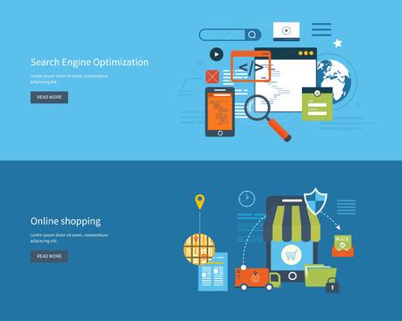 検索エンジン最適化と web 解析要素、モバイル マーケティング、配送、安全なオンライン ショッピングのためのフラットなデザイン ベクトル図概念