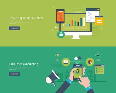 Set flache Design Vektor-Illustration Konzepte für Suchmaschinen-Optimierung und Web-Analyse-Elemente. Mobile App.
