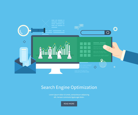 data: Set of flat design vector illustration concepts for search engine optimization and web analytics elements. Mobile app.