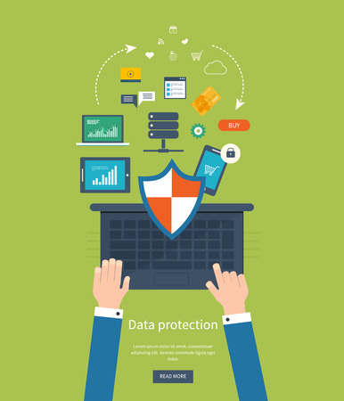 protected database: Conjunto de dise�o de planos ilustraci�n vectorial conceptos de protecci�n de datos, trabajo seguro y la seguridad de Internet. Conceptos para web banners y materiales impresos.