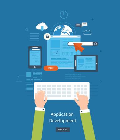 e- 비즈니스, 웹 사이트, 모바일 애플리케이션, 배너, 기업 브로셔 현대 평면 설계 응용 프로그램 개발 개념. 벡터 일러스트 레이 션
