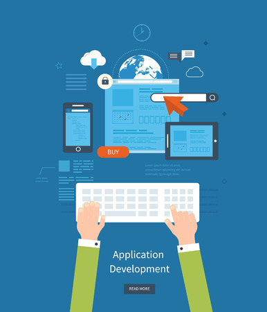 development: Modern flat design application development concept  for e-business, web sites, mobile applications, banners, corporate brochures. Vector illustration Illustration