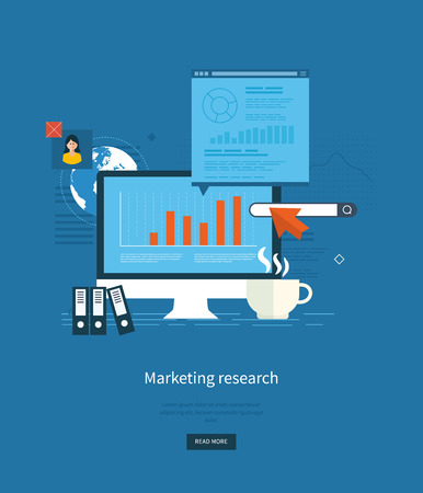 market research: Flat design illustration concepts for business analytics and planning, consulting, team work, project management, market research and development. Web site analytics charts on screen of PC.