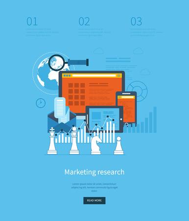 investigar: Piso conceptos de diseño de ilustración para análisis de negocios y planificación estratégica, consultoría, programación, gestión de proyectos, estudios de mercado y de desarrollo. Sitio de Web Analytics gráficos. Vectores