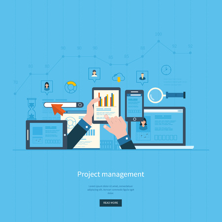 web development: Flat design illustration concepts for business analysis and planning, consulting, team work, project management and development. Concepts web banner and printed materials.