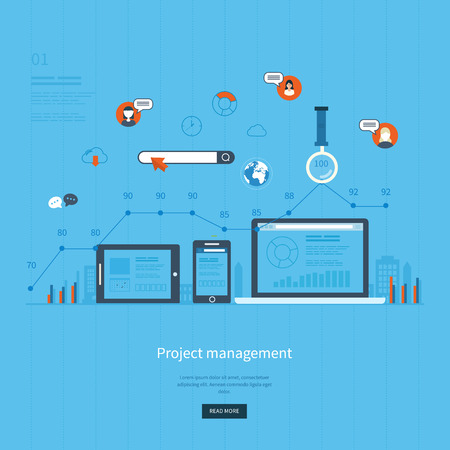 printed work: Flat design illustration concepts for business analysis and planning, consulting, team work, project management and development. Concepts web banner and printed materials.