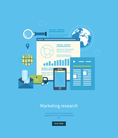 Flat design illustration concepts for business analytics and planning, consulting, programming, project management, market research and development. Web site analytics charts.