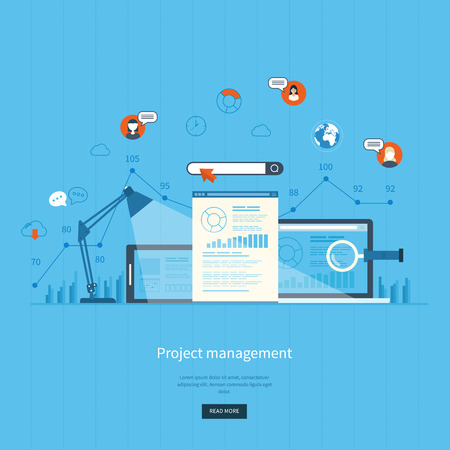business work: Flat design illustration concepts for business analysis and planning, consulting, team work, project management and development. Concepts web banner and printed materials.