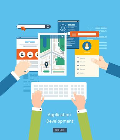 Moderno concetto di piano di sviluppo di un'applicazione per l'e-business, i siti web, applicazioni mobili, bandiere, navigazione mobile. Illustrazione vettoriale Archivio Fotografico - 43080398