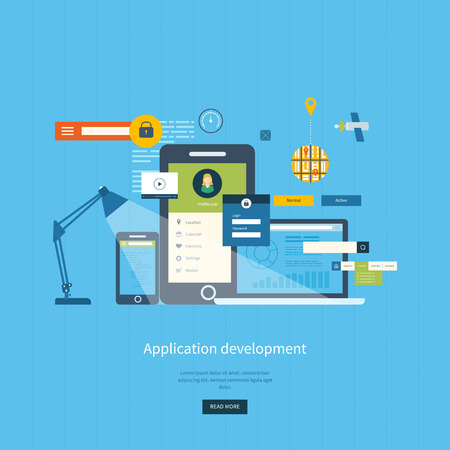 web template: Modern flat design application development concept  for e-business, web sites, mobile applications, banners, corporate brochures. Vector illustration Illustration