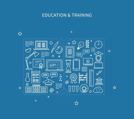 Flat design modern vector illustration icons set of distance education, e-learning, courses and training. All elements are presented as a book Vettoriali
