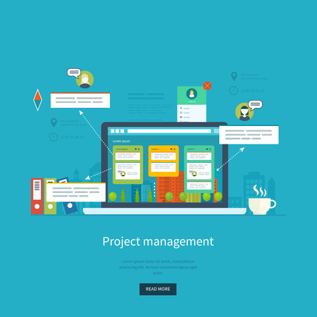 consulting business: Flat design illustration concepts for business analysis and planning, consulting, team work, project management and development. Concepts web banner and printed materials.