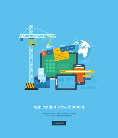applications: Modern flat design application development concept  for e-business, web sites, mobile applications, banners, corporate brochures. Vector illustration Illustration