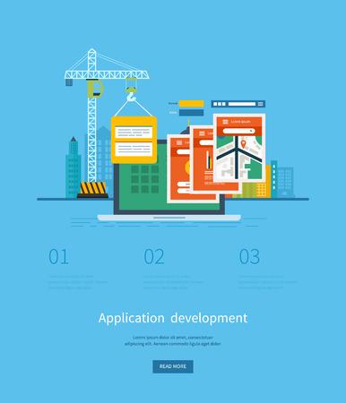construction management project: Modern flat design application development concept  for e-business, web sites, mobile applications, banners, mobile navigation. Vector illustration