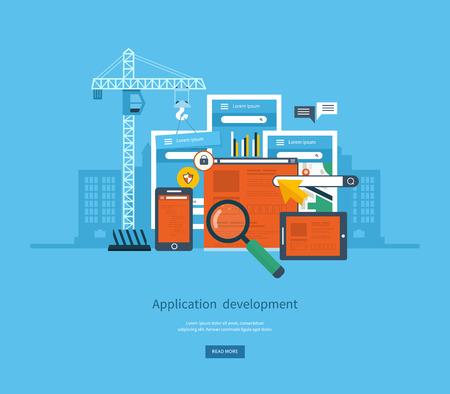 E ビジネス、web サイト、モバイル アプリケーション、バナー、モバイル ナビゲーションのモダンなフラット デザイン アプリケーション開発コンセ