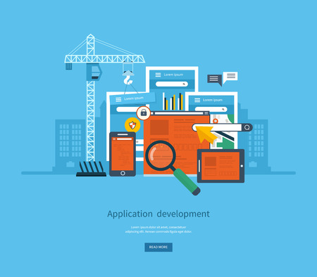 Modern flat design application development concept  for e-business, web sites, mobile applications, banners, mobile navigation. Vector illustration