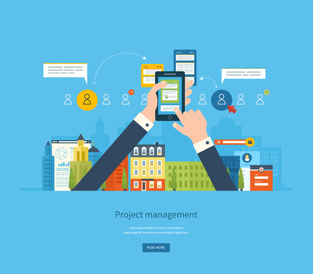 planificacion: Piso conceptos de diseño ilustración para el análisis de negocio y planificación, consultoría, trabajo en equipo, gestión de proyectos y el desarrollo. Bandera Conceptos web y materiales impresos.
