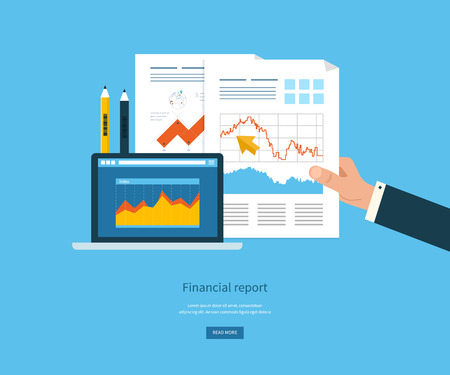 reports: Flat design illustration concepts for business analysis, financial report, consulting, team work, project management and development. Concepts web banner and printed materials.