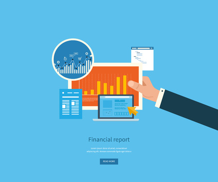 financial report: Flat design illustration concepts for business analysis, financial report, consulting, team work, project management and development. Concepts web banner and printed materials.