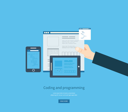 communication concept: Programming and coding. Web development and search. Search engine optimization. Mobile app. Vector illustration.
