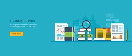 marktforschung: Flaches Design moderne Vektor-Illustration Konzept der Analyse von Projekt auf Business-Meeting, Finanzbericht, Finanzanalysen, Marktforschung und Planungsunterlagen