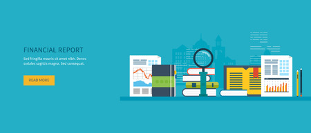 financial market: Flat design modern vector illustration concept of analyzing project on business meeting, financial report, financial analytics, market research and planning documents Illustration