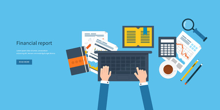 financial analysis: Flat design modern vector illustration concept of analyzing project, financial report, financial analytics, market research and planning documents