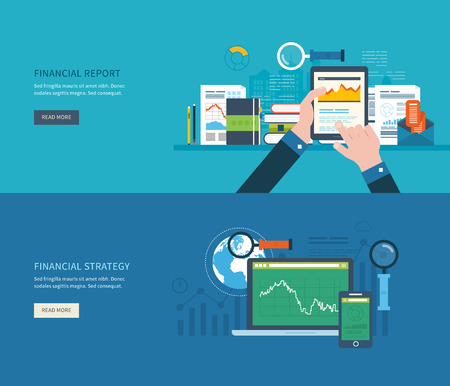 Flat design modern vector illustration concept of analyzing project, financial report and strategy, financial analytics, market research and planning documents Иллюстрация