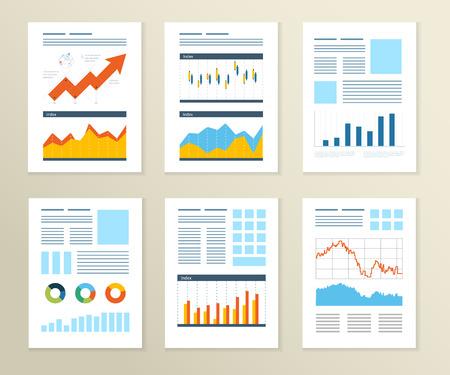 전단, 브로셔 디자인 템플릿 집합입니다. 재무 보고서 및 재무 전략. 모바일 기술, 응용 프로그램 및 온라인 서비스 개념. 일러스트