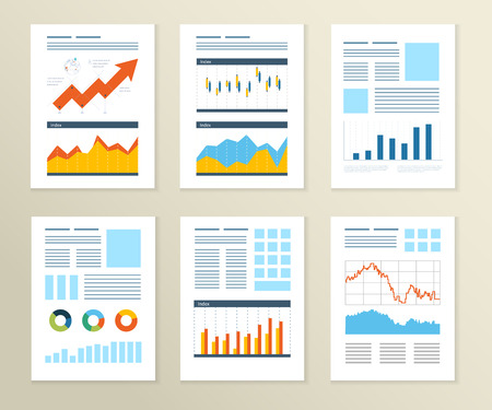 financial graphs: Set of Flyer, Brochure Design Templates. Financial report and financial strategy. Mobile Technologies, Applications and Online Services Concept.