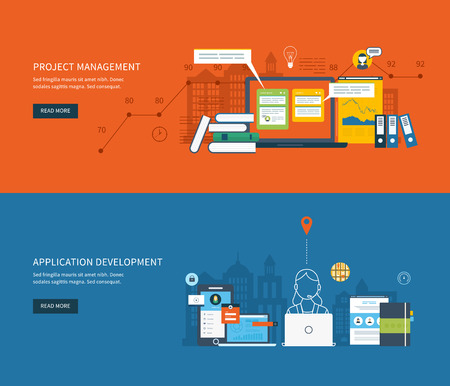 Flat design illustration concepts for business analysis, consulting, team work, project management and application development. Vector illustration