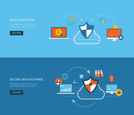 data storage device: Set of flat design vector illustration concepts for data protection, data encryption and secure data exchange. Concepts for web banners and printed materials.